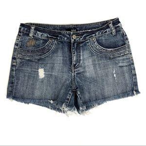A.N.A distressed raw hem jean shorts - 12